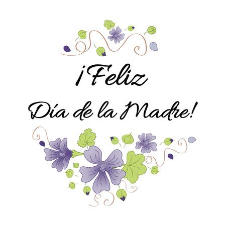 De gelukkige banner van de Moederdag verfraaide hand getrokken weidebloemen. Belettering titel in het Spaans