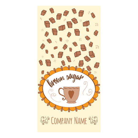 Hand drawn banner with brown sugar and round frame with cup