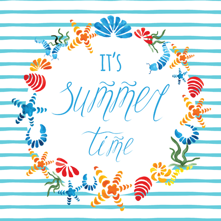 Summer time hand drawn poster with colorful starfish, seashell decorated blue stripe Illustration