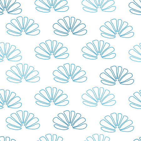 Vector blue hand drawn seashells seamless pattern on white. Light repeated background or wallpaper