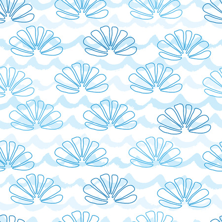 Vector sea and underwater seamless pattern decorated hand drawn blue seashells