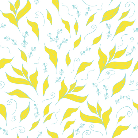 Abstract background with hand yellow drawn leaves. Seamless pattern