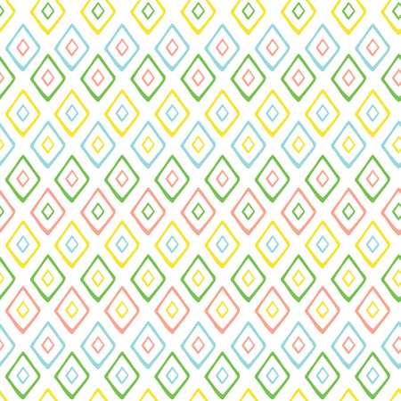 Hand drawn style geometric seamless pattern in sunny brignt colors