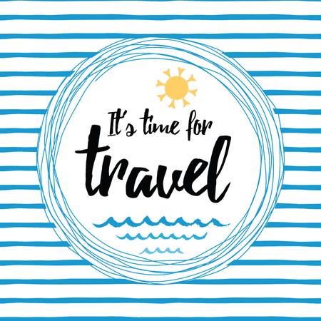 Reizen gestreepte typografische kaart met inspirerend citaat, zon, zee golven, oceaan