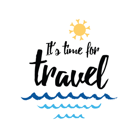 Travel typographic banner with inspirational quote, sun, sea waves, ocean