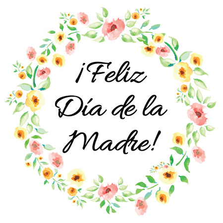 Mother Day vector greeting card. Hand drawn romantic banner decorated cute hand drawn watercolor flowers on white background. Lettering title in Spanish Vettoriali