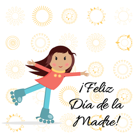 Vector banner Happy Mothers Day with hugging little girl on rollers.