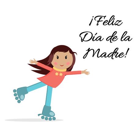 rulos: Vector banner Feliz Día de la Madre con abrazos niña en rodillos. Vectores