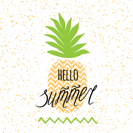 Summer time banner. Vector summer print with hand drawn pineapple and hand written lettering element Hello summer. Ilustração