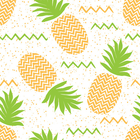 Vector seamless pattern with pineapples for summer textile or fabric design on white. Ilustração