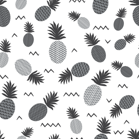 Pineapple simple vector seamless background. Textile fabric ananas monochrome grey pattern. Baby simple scandinavian white style apparel and linen design.