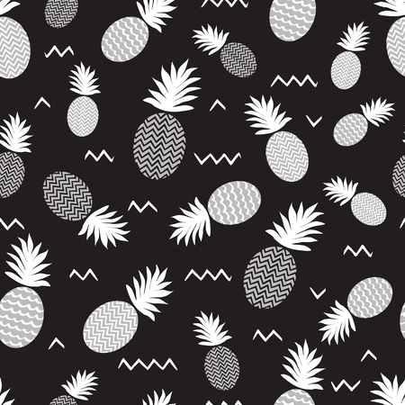 Pineapple simple vector seamless black and white background. Textile fabric ananas monochrome pattern. Baby simple scandinavian white style apparel and linen design. Fresh fruit banner.