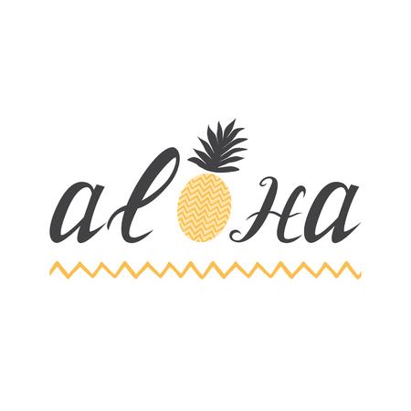 熱帯要素アロハと波ストロークで白地にキュートなパイナップルのレタリングを印刷
