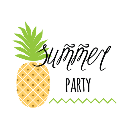 beach party: Vector invitation template with pineapple, text Summer party on white Illustration