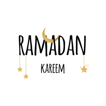 Crescent moon with hanging stars for Holy Month of Muslim Community, Ramadan Kareem celebration. Lettering element