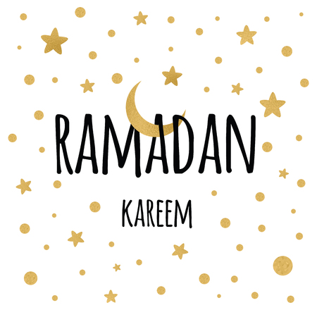 Vector banner crescent moon with hanging stars for Holy Month of Muslim Community, Ramadan Kareem celebration.