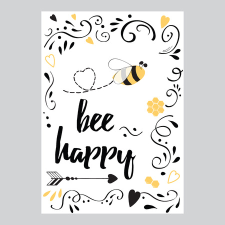 Inspirational l??? quote for valentines day or save the date banner. Bee mine Ilustração