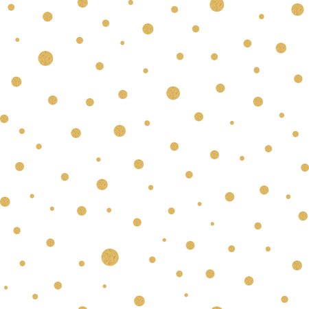 Seamless pattern with gold polka dots texture on white Ilustrace