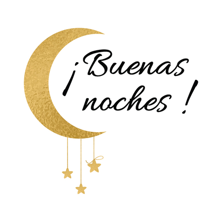 Symbol With Text Good Night In Spanish Language Wishing Banner