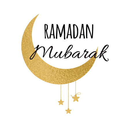 Vector crescent moon with hanging stars for Holy Month of Muslim Community, Ramadan Mubarak phrase.