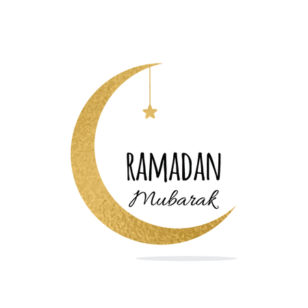 Crescent moon and star for Holy Month of Muslim Community, Ramadan Mubarak celebration sign Illustration