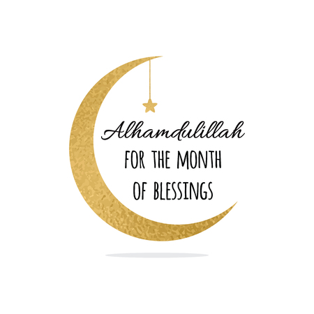Alhamdulillah quote into golden crescent moon and star for Holy Month of Muslim Community, Ramadan Kareem celebration. Illustration