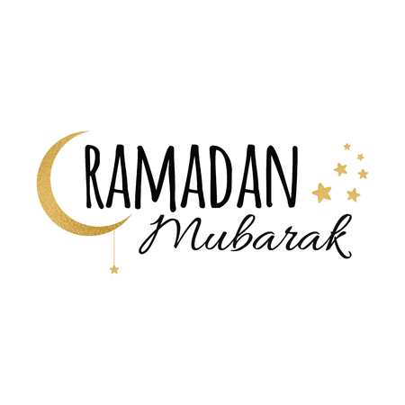 Ramadan Mubarak greeting lettering element decorated Crescent moon and star for Holy Month of Muslim Community