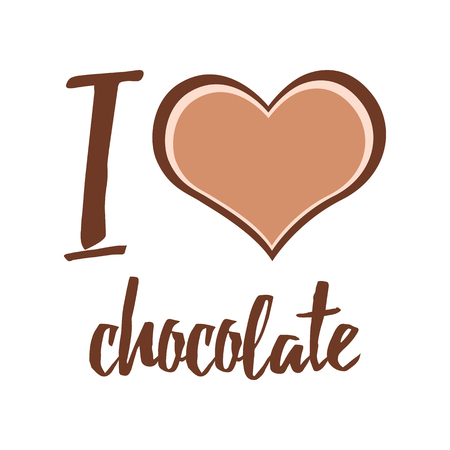 A Vector typographic print I love chocolate decorated heart in brown chocolate colors on white. Happy Chocolate day design. Illustration