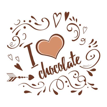 Una bandera tipográfica de vectores Me encanta el chocolate decorado abstracto dibujado a mano ornamento en colores chocolate marrón. Diseño más dulce del día feliz. Foto de archivo - 80718941