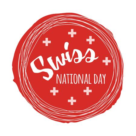 독립 스위스 국가 날. 레터링과 손으로 그려진 된 포스터 디자인