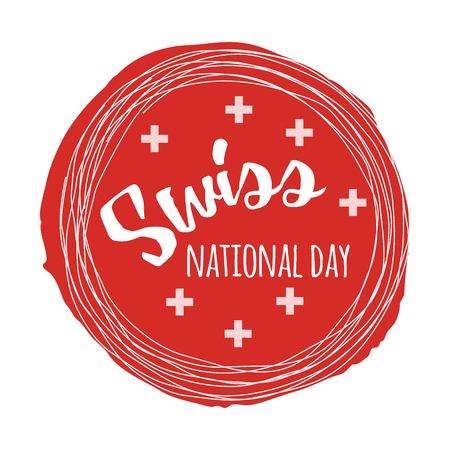 Independence Swiss national day. Hand drawn poster design with lettering Illustration