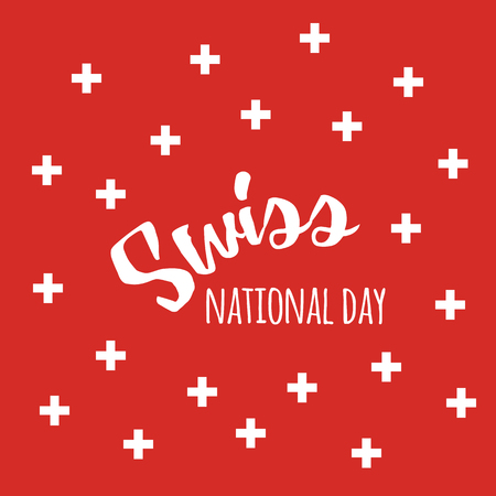 Independence Swiss national day background with quote and swiss flag symbols 向量圖像