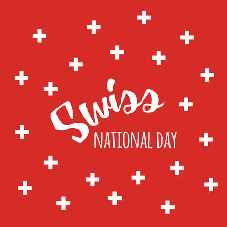 Schweizer Tageshintergrund der Unabhängigkeit Schweizer mit Zitat- und Schweizerflaggensymbolen Standard-Bild - 81365338