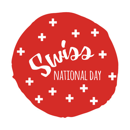 Independence Swiss national day. Hand drawn print design with lettering Stock Illustratie