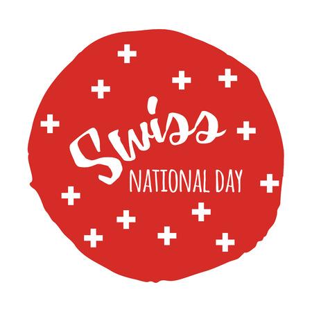 Schweizer Nationalfeiertag. Handgezeichnete Print-Design mit Schriftzug Standard-Bild - 81365339