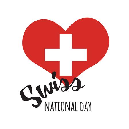 Unabhängigkeit Schweizer Nationaltag. Poster-Design mit Schriftzug in Herzform Standard-Bild - 81365341