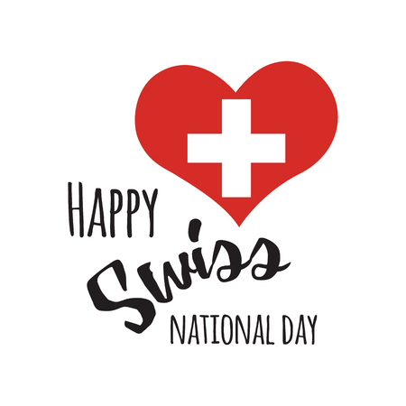 Independence Swiss national day. Print design with lettering into heart shape Vectores