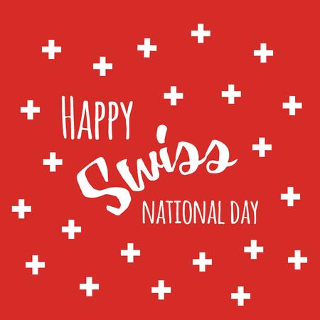 Onafhankelijkheid Zwitserse nationale dag achtergrond met citaat en Zwitserse vlag symbolen Stock Illustratie