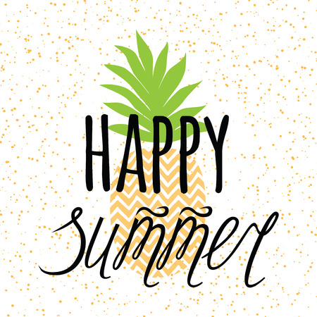 Vector summer banner with hand drawn pineapple, lettering design element Happy summer. Ilustração