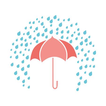 Vector print with umbrella and rainy drops on white background Ilustração