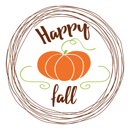 autumn background with pumpkin and text Hello fall into circle frame on white background Illustration