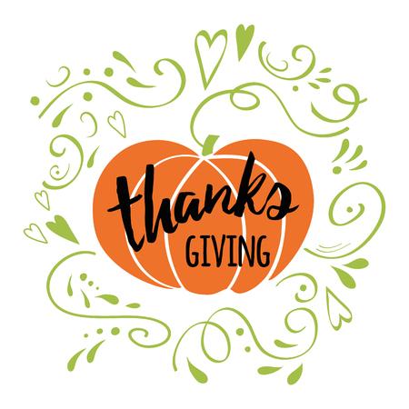 Feliz Día de Acción de Gracias, dar las gracias, otoño dibujado a mano diseño decorado romántico romántico verde