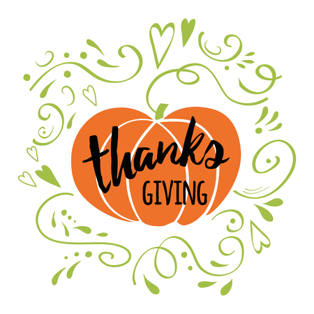 Happy Thanksgiving Day, give thanks, autumn hand drawn design decorated green romantic ornament