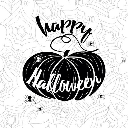 spider web: Happy Halloween vector banner. Holiday calligraphy with spider web and pumpkin