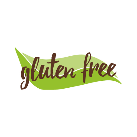 Vector lettering phrase gluten free on the green leaf shape for restaurant, cafe menu.  イラスト・ベクター素材