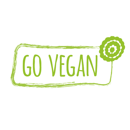 Green eco label with text Go Vegan into green hand drawn frame with flower. Artistic vector element for labels, logos, badges, stickers or icons. Calligraphic and typographic design for organic food Illustration