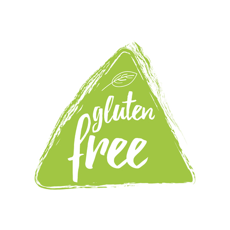 Green eco label with text Gluten Free into green hand drawn triangle shape. Artistic vector element for labels, logos, badges, stickers or icons. Calligraphic and typographic design for organic food Illustration
