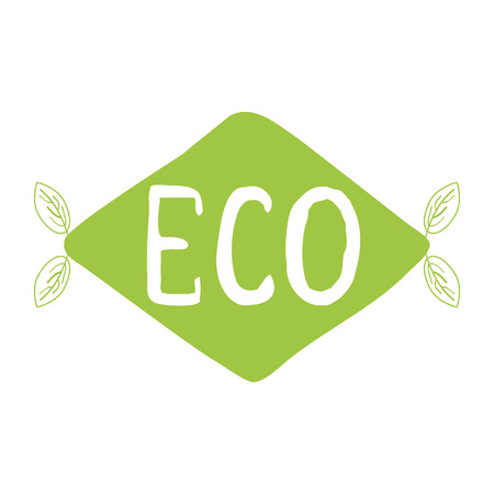 Green eco label with text Gluten Free into green hand drawn rhombus shape. Artistic vector element for labels, logos, badges, stickers or icons. Calligraphic and typographic design for organic food Illustration