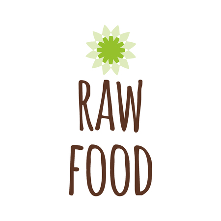 Vector typographic banner with phrase Raw Food decorated hand drawn green sun icon. Hand drawn element for labels, logos, badges, stickers, icons. Calligraphic and typographic design for organic food