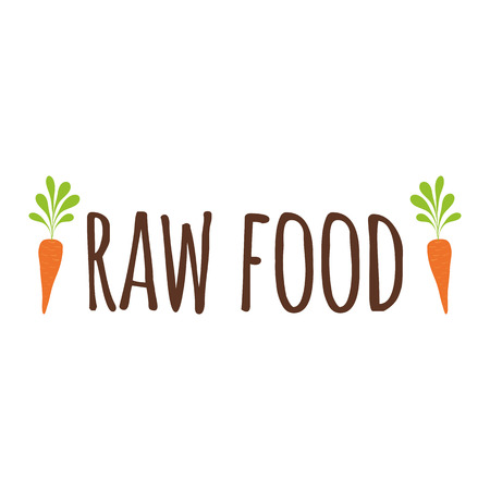 Vector typographic banner with phrase Raw Food decorated hand drawn carrot. Hand drawn element for labels, logos, badges, stickers, icons. Calligraphic and typographic design for organic food Иллюстрация